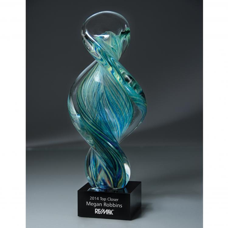 Artisan Glass Spiral Art Glass Award with Glass Base