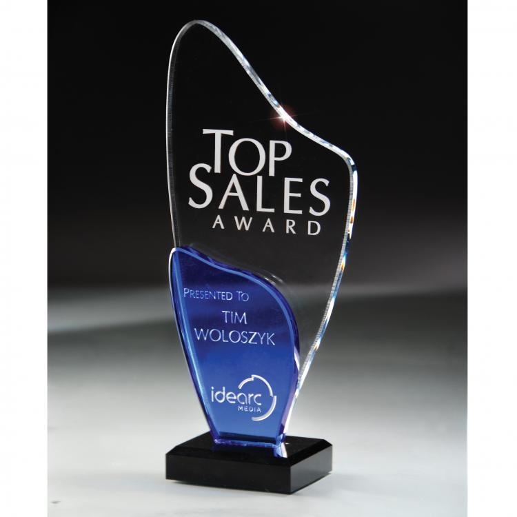 Freeform Blue Glass & Optic Crystal Award with Black Base