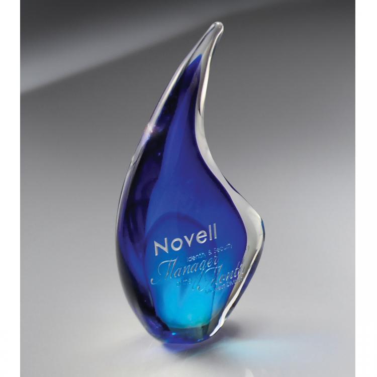 Free Standing Indigo Art Glass Award