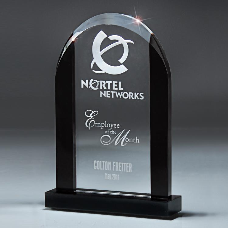 The Noir Glass Dome Award with Black Glass Base