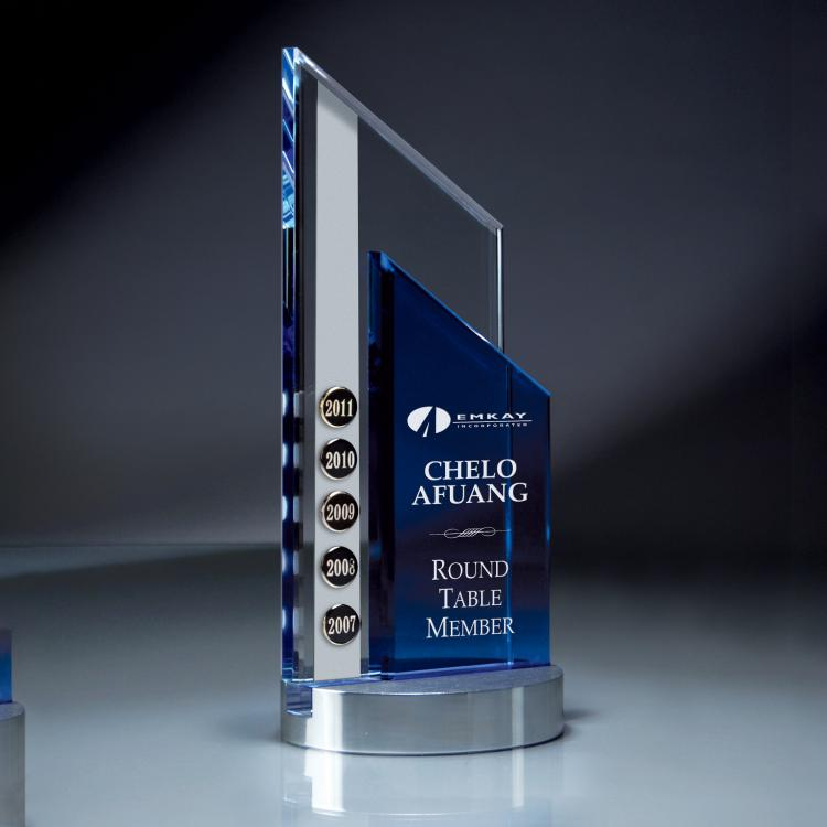 Perpetual Excellence Blue & Optic Crystal Peak Award with Aluminum Base
