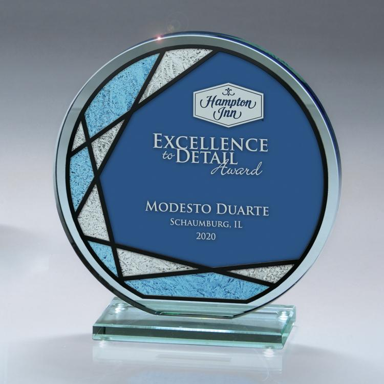 Circle Jade Glass Award with Blue Frost Capaci Imprint