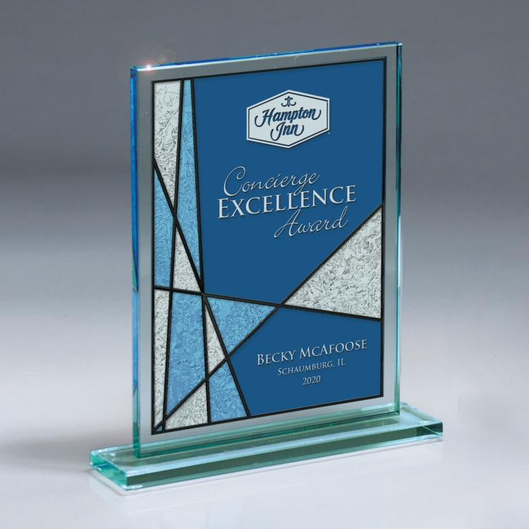 Rectangular Jade Glass Award with Blue Frost Capaci Imprint