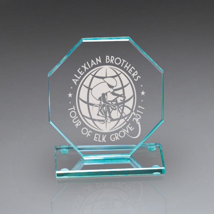 Carlisle Jade Glass Series Laser Etched Premium Octagon Award