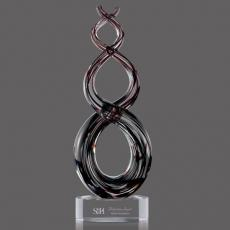 Custom Art Glass Awards Plaques & Trophies - Stratus Award on Clear Base