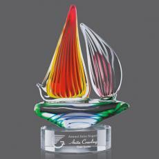 Custom Art Glass Awards Plaques & Trophies - Valdez Sailboat Award on Clear Base
