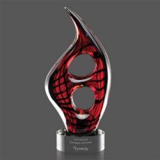 Custom Art Glass Awards Plaques & Trophies - Zephyr Award on Clear Base