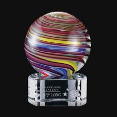 Custom Art Glass Awards Plaques & Trophies - Lunar Award on Clear Base