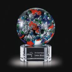 Custom Art Glass Awards Plaques & Trophies - Fantasia Award on Clear Base