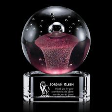 Custom Art Glass Awards Plaques & Trophies - Jupiter Award on Clear Base