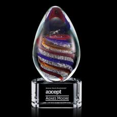 Custom Art Glass Awards Plaques & Trophies - Zenith Award on Clear Base