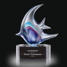 Custom Art Glass Awards Plaques & Trophies - Neptune Fish on Clear Base