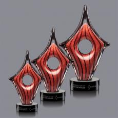 Custom Art Glass Awards Plaques & Trophies - Rialto Award on Black Base