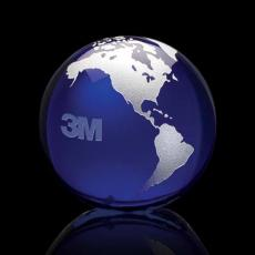 "Optic Crystal Awards - Globe Paperweight - 3"" Blue/Silver"