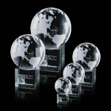Optic Crystal Awards - Globe on Cube