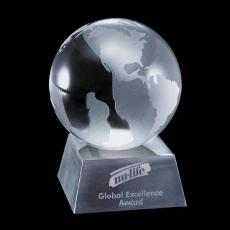 """Metal Awards - Globe on Aluminum Base - 3-1/8"""""""