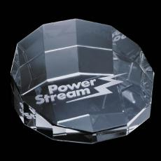 """Custom-Engraved Crystal Awards - Cloverdale Paperweight - Optical 3-1/8"""""""