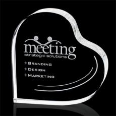 "Custom-Engraved Crystal Awards - Kashmir Standing Heart - Optical 3"""