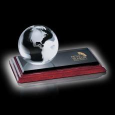"Custom-Engraved Crystal Awards - Globe - 2-3/8"""