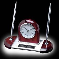 Desk Accessories - Alliston Clock/Pen Set - Rosewood/Chrome