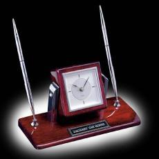 Desk Accessories - Eggleton Clock/Pen Set - Rosewood/Chrome