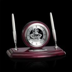 Desk Accessories - Sunderland Clock/Pen Set - Rosewood/Chrome