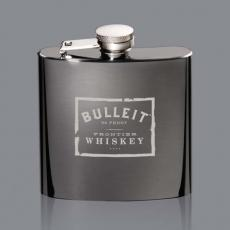 Executive Gifts - Raven Hip Flask - Black Nickel