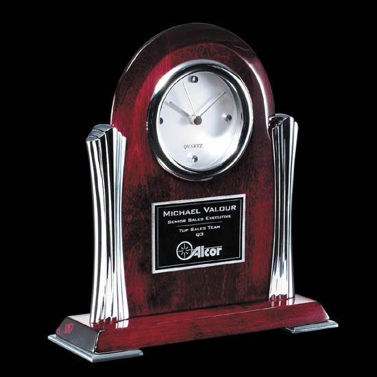 Bosworth Clock - Rosewood/Chrome