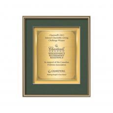 Customizable Plaque Awards - Fenestra Certificate TexEtch Vert - Gold