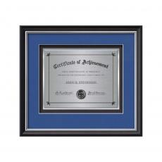 Framed Awards & Plaques - Baron Certificate TexEtch Horiz - Black/Silver