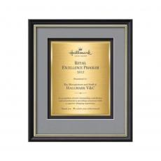 Framed Awards & Plaques - Baron Certificate TexEtch Vert - Black/Gold