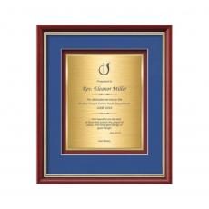 Framed Awards & Plaques - Baron Certificate TexEtch Vert - Mahogany/Gold