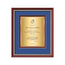 Customizable Plaque Awards - Baron Certificate TexEtch Vert - Mahogany/Gold