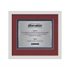 Framed Awards & Plaques - Primrose Certificate TexEtch Horiz - White
