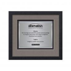 Customizable Plaque Awards - Primrose Certificate TexEtch Horiz - Carbon Fiber