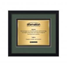 Framed Awards & Plaques - Primrose Certificate TexEtch Horiz - Black