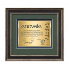 Framed Awards & Plaques - Tuscan Certificate TexEtch Horiz - Rustic/Charcoal