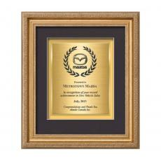 Framed Awards & Plaques - Regal Certificate TexEtch Vert - Gold