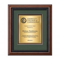 Customizable Plaque Awards - Deco Certificate TexEtch Vert - Walnut