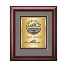 Framed Awards & Plaques - Cornaro Certificate TexEtch Vert - Mahogany
