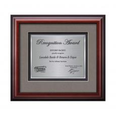 Customizable Plaque Awards - Cornaro Certificate TexEtch Horiz - Mahogany
