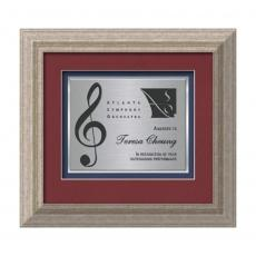 Framed Awards & Plaques - Terrene Certificate TexEtch Horiz - Antique Silver