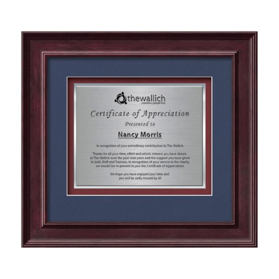 Calder Certificate TexEtch Horiz - Mahogany