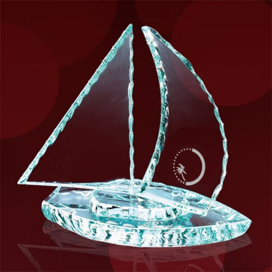 Chipped Sailboat w/Curved Sails - Jade