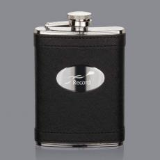 Flasks - Hodge Hip Flask -  Black/Stainless Plate