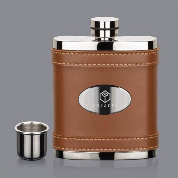 Melrose Hip Flask -  BrownStainless Plate
