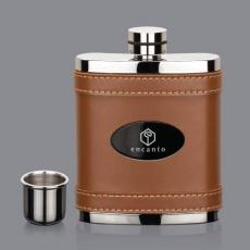 Flasks - Melrose Hip Flask -  Brown/Black Nickel Plate