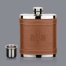 Flasks - Melrose Hip Flask -  Brown Leather