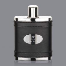 Flasks - Melrose Hip Flask -  Black/Stainless Plate