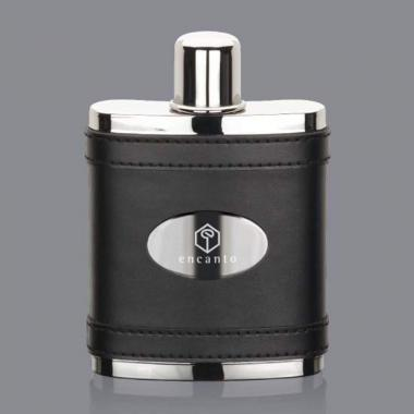Melrose Hip Flask -  Black/Stainless Plate